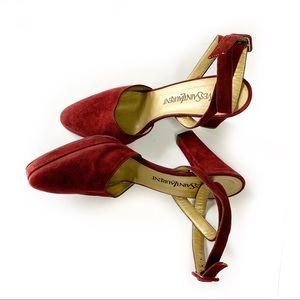 Yves Saint Laurent Suede Leather Heels in Burgundy